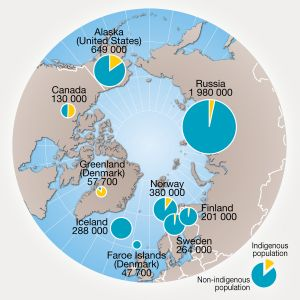 Distribution of indigenous population in the Arctic. Click to enlarge. (Map from Arctic Human Development Report - 2004).