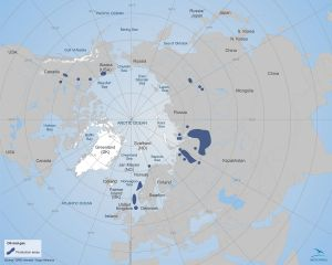 Current oil and gas production areas (Map: Arctic Portal)