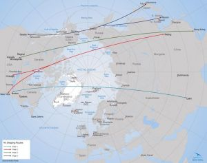 Air shipping routes over the Arctic. (Map by Arctic Portal). Click to enlarge.