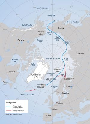 This is how sailing through the Arctic Ocean to Norway could look (Map:Arctic Portal)