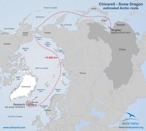 (Map: Arctic Portal) Estimated Arctic Route of the 5th Chinese Expedition